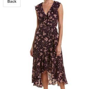 Max studio purple floral wrap high low dress